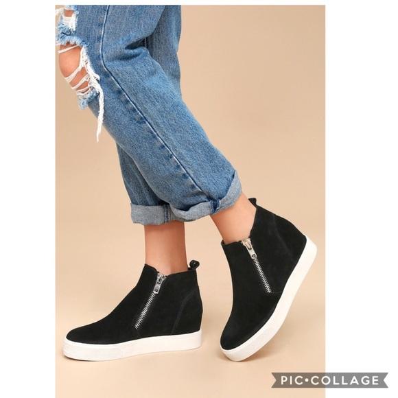 a7488bb0970 Steve Madden Wedgie Black Suede Sneakers (10)